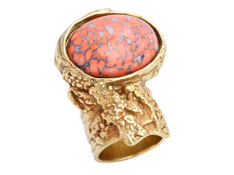 Saint Laurent Gold-Tone Peach Glass Arty Cocktail Ring