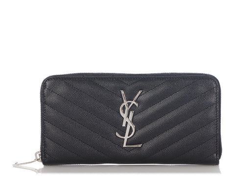 Saint Laurent Black Grain de Poudre Monogram Zip Around Wallet
