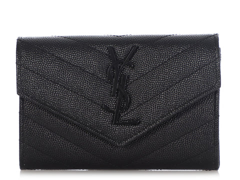 Saint Laurent So Black Grain de Poudre Compact Wallet
