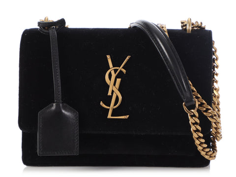 Saint Laurent Small Black Velvet Sunset Bag
