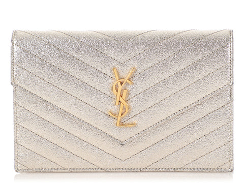 Saint Laurent Gold Monogram Envelope Chain Wallet
