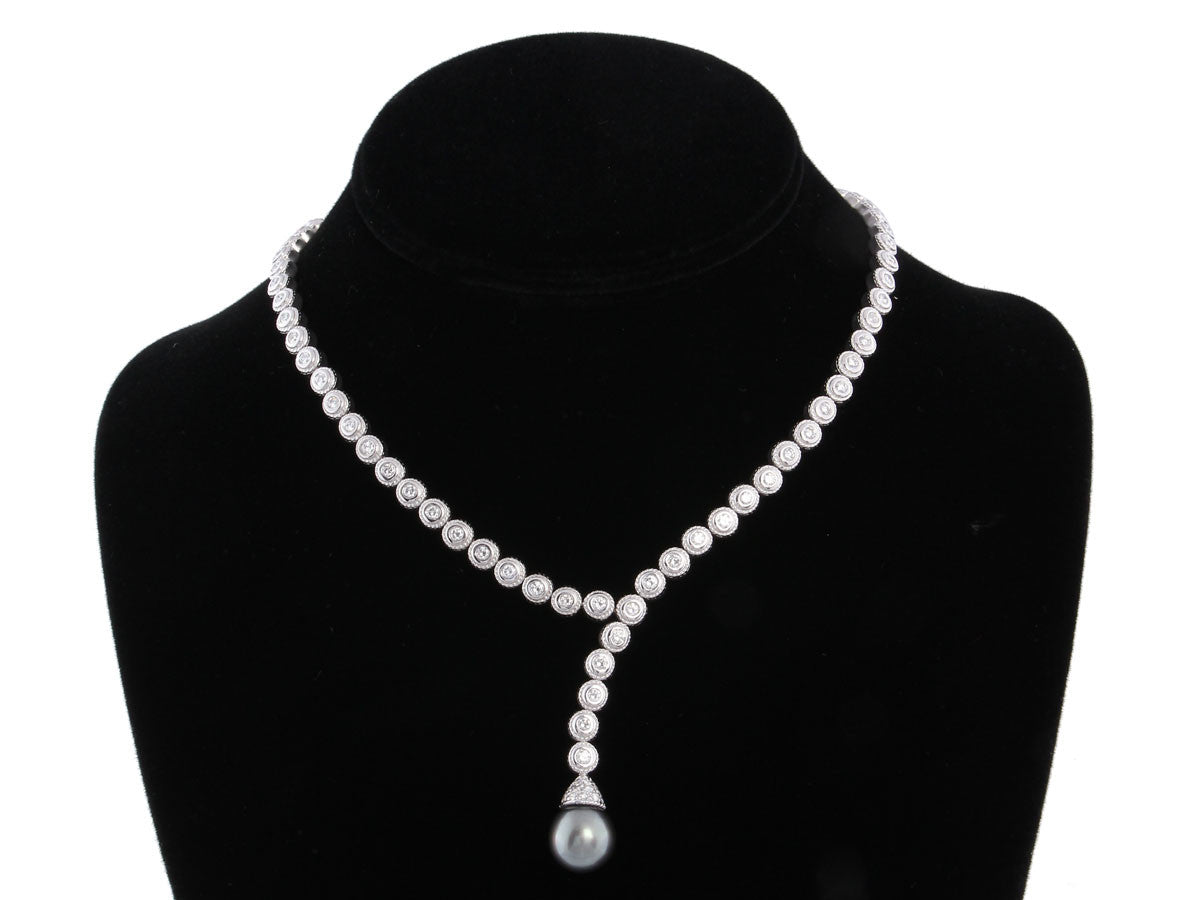 Penny Preville Gray Pearl and Diamond Necklace