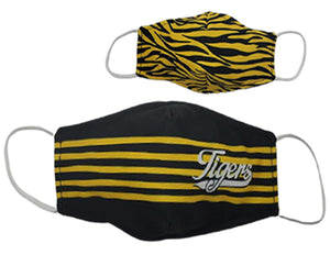 Black and Gold Reversible Face Cover Printed Stripes/Tiger Stripes