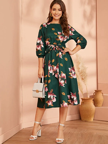 Elastisk Midje Belte Floral Dress