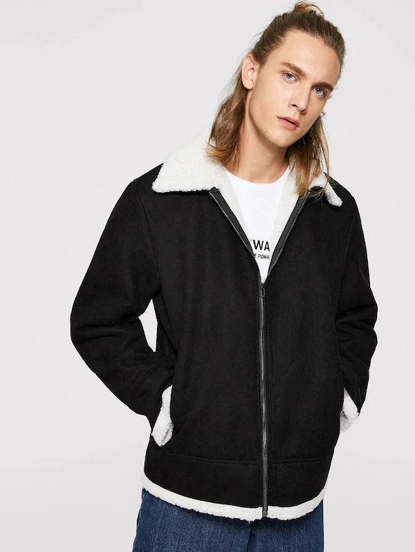 Menn Zip Opp Faux Shearling Jacket