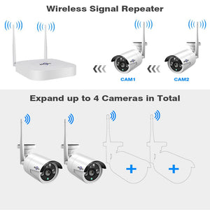Hiseeu 4CH 960P/1080P Wireless CCTV camera System wifi 2pcs 1.3MP 2MP waterproof IP camera outdoor security kit cctv extendable - Bragartele.com