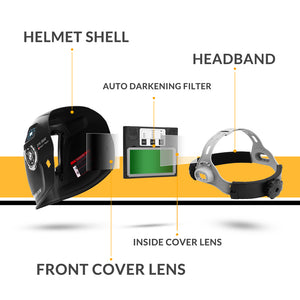 Original DEKO DNS-550 Solar Power Auto Darkening Welding Helmet Welder Lens Mask 92*42cm Larger View Area for TIG MIG MMA Grind