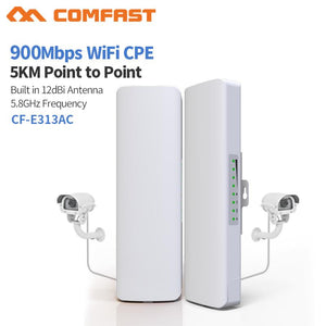 Outdoor Mini Wireless AP Bridge WIFI CPE Access Point 2pcs 5KM 900Mbps 5.8Ghz  12dBi - Bragartele.com