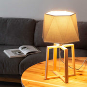 Hexagon Cotton Wood Table Lamp