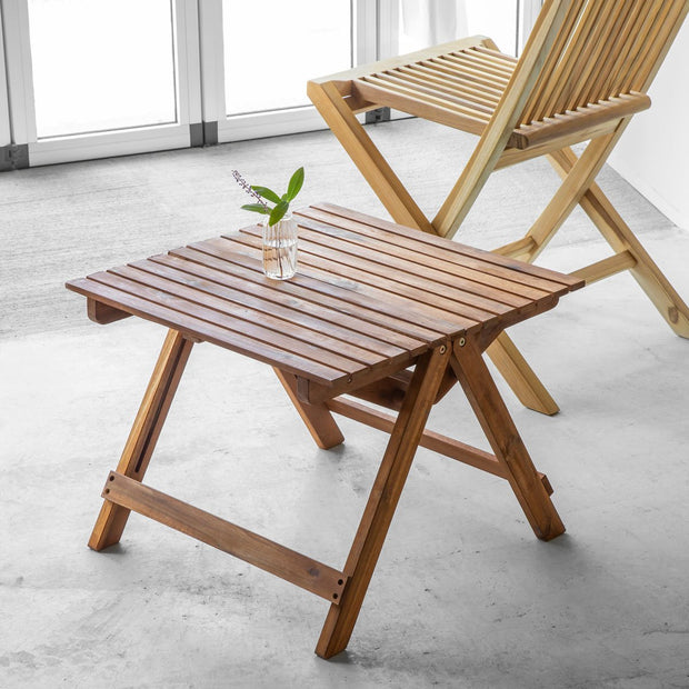 【OUTLET】Outdoor Living - Natural アカシア スクエア サイドテーブル