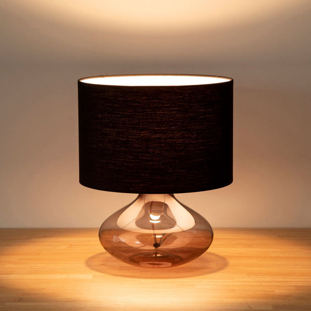 Glass × Fabric Round Table Lamp