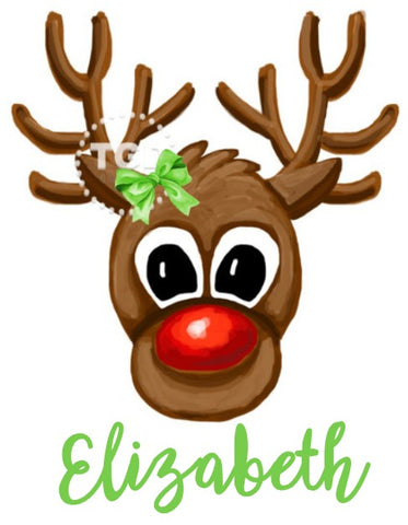 Girls Watercolor Rudolph Face Design
