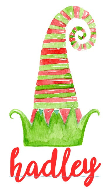 Girls Watercolor Curly Elf Hat Design