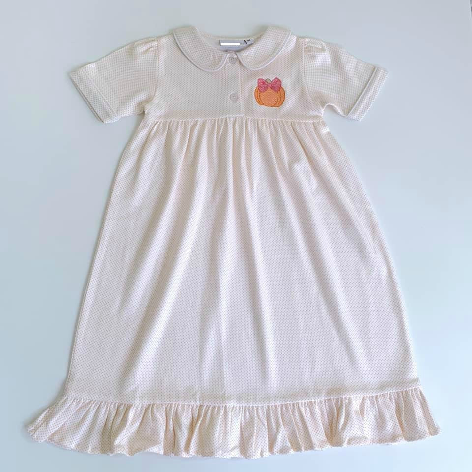 Orange Dot PJ's- Ruffle Gown- Kids
