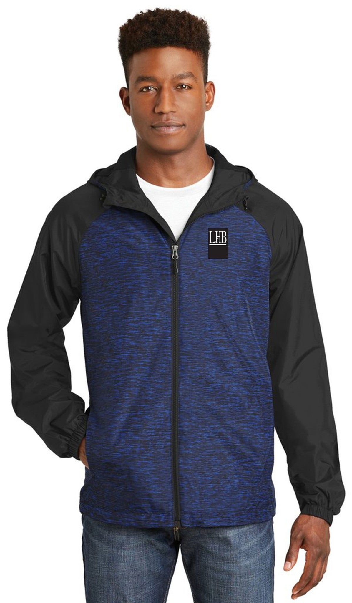 Sport-Tek® Heather Colorblock Raglan Hooded Wind Jacket - Men's - #JST40