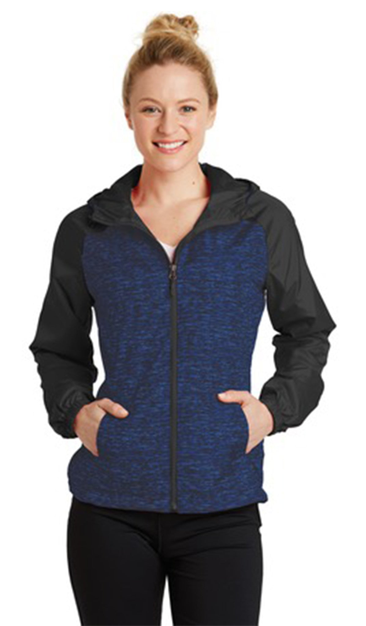 Sport-Tek® Heather Colorblock Raglan Hooded Wind Jacket - Women's - #LST40