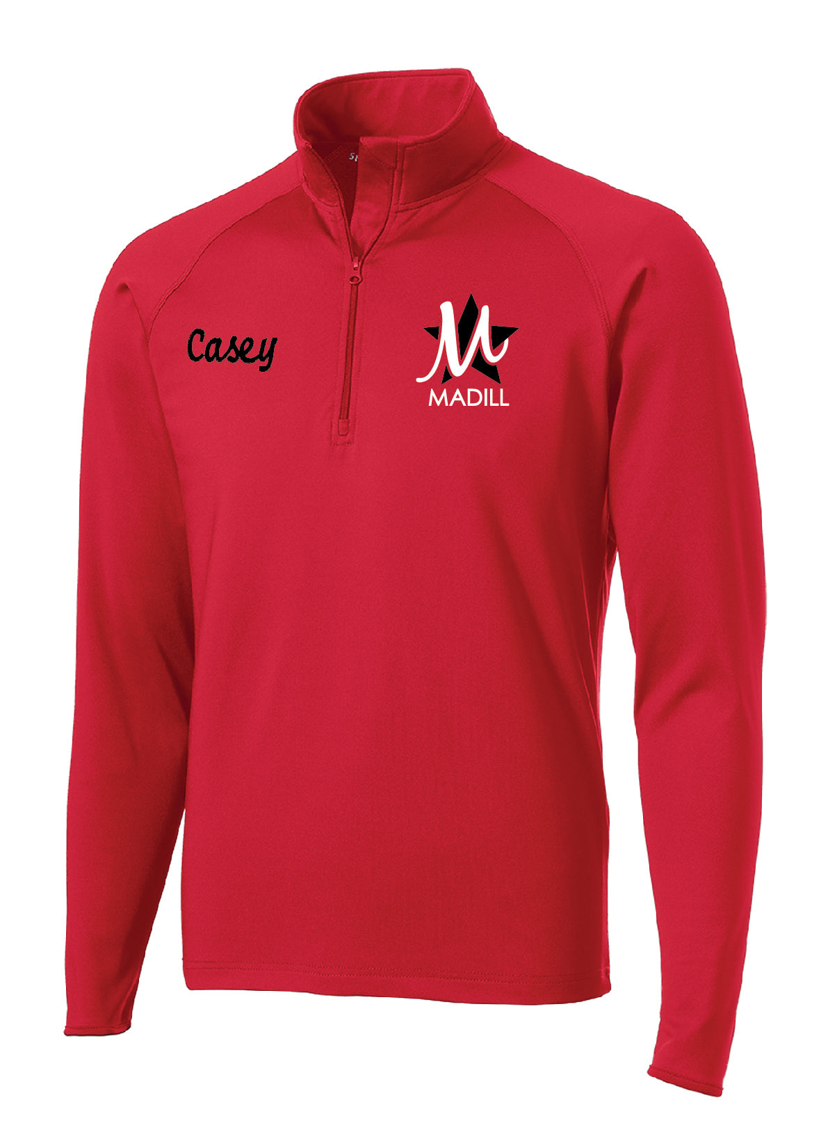 Q) Men's Quarter Zip Zip Pullover (RED OR BLACK)
