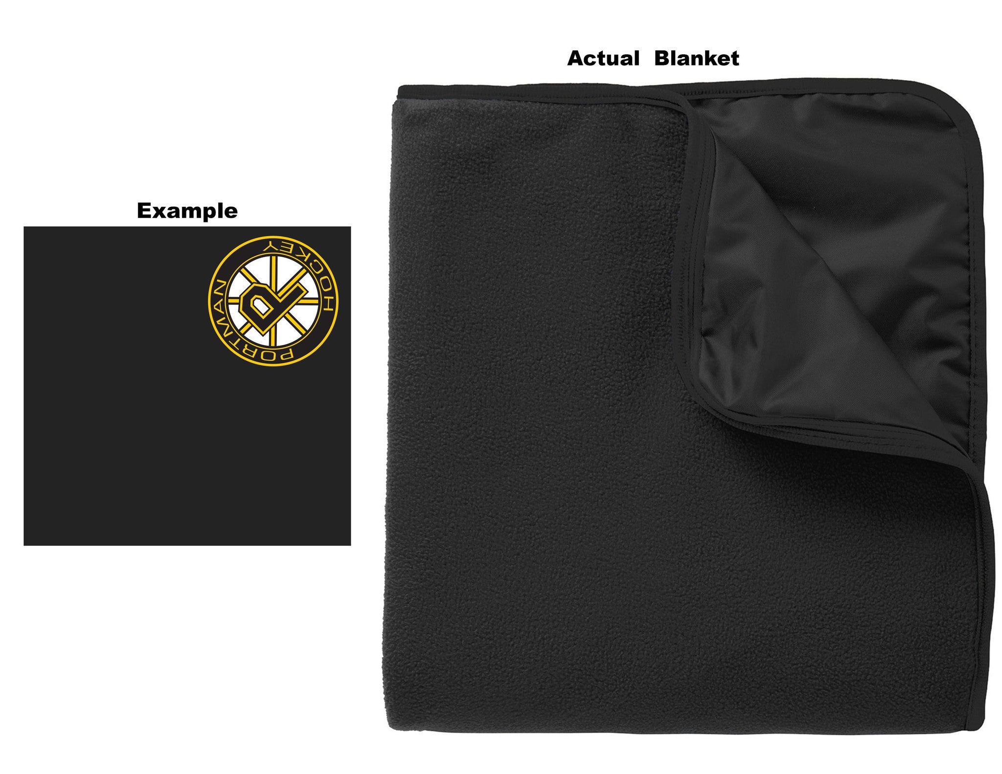 Port Authority Fleece & Polyester Travel Blanket - Black/Black - # TB850