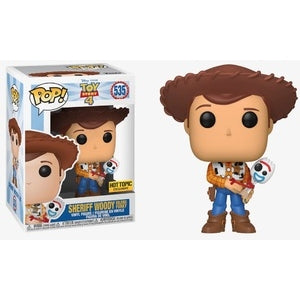 Funko Pop! Disney: Toy Story 4 - Woody Holding Forky (Hot Topic Exclusive) #535 - Popu!ar Collectibles