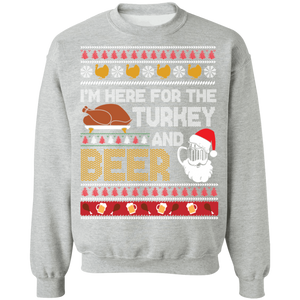 Here for the Turkey and Beer Ugly Thanksgiving Sweater