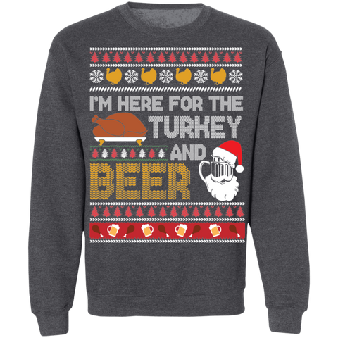 Image of Here for the Turkey and Beer Ugly Thanksgiving Sweater