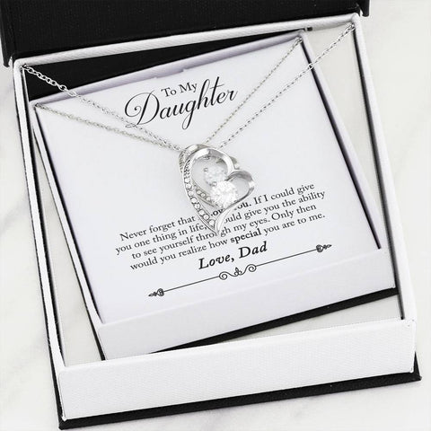 To My Daughter  - From Dad - Forever Love Heart Necklace