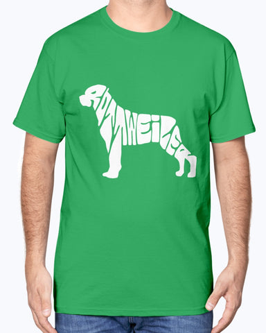 Image of Rottweiler spelled out shirt