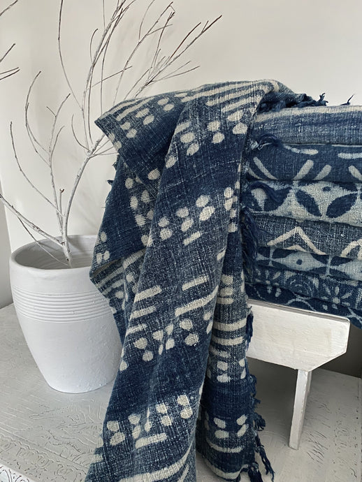 Indigo Cotton Throw #1