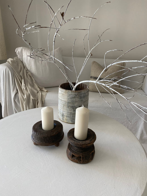 Dark Timber Carved Candle Holder