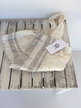 Load image into Gallery viewer, Tallows Linen Tote Bag - White with Grey Stripe