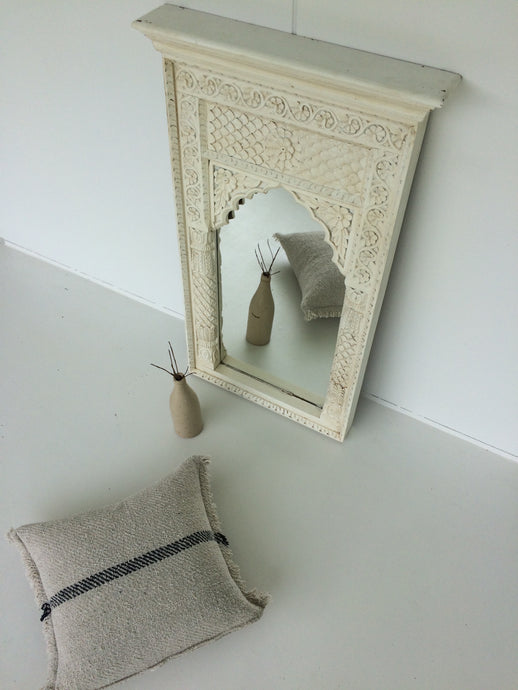 Mirror - Medium Carved White Timber Indian Mirror