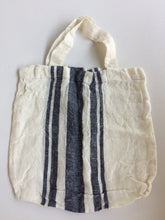Load image into Gallery viewer, Tallows Linen Tote Bag - White with Navy Stripe