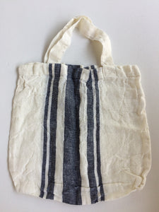 Tallows Linen Tote Bag - White with Navy Stripe