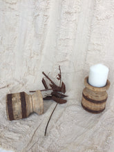 Load image into Gallery viewer, Recycled round timber candle holders with metal band