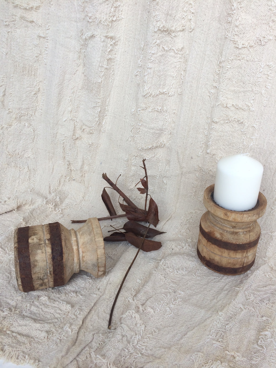 Recycled round timber candle holders with metal band
