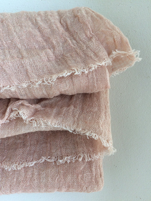 Belongil Linen Scarf - Dusty Moroccan Rose Pink