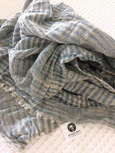 Lighthouse Cotton Scarf - Blue + White Striped