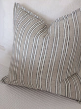 Load image into Gallery viewer, Coastal Linen Cushions - Beige with White Stripes