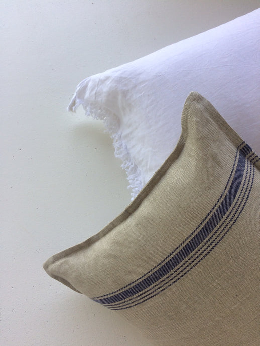Coastal Linen Cushions - Beige with 2 Blue Stripes