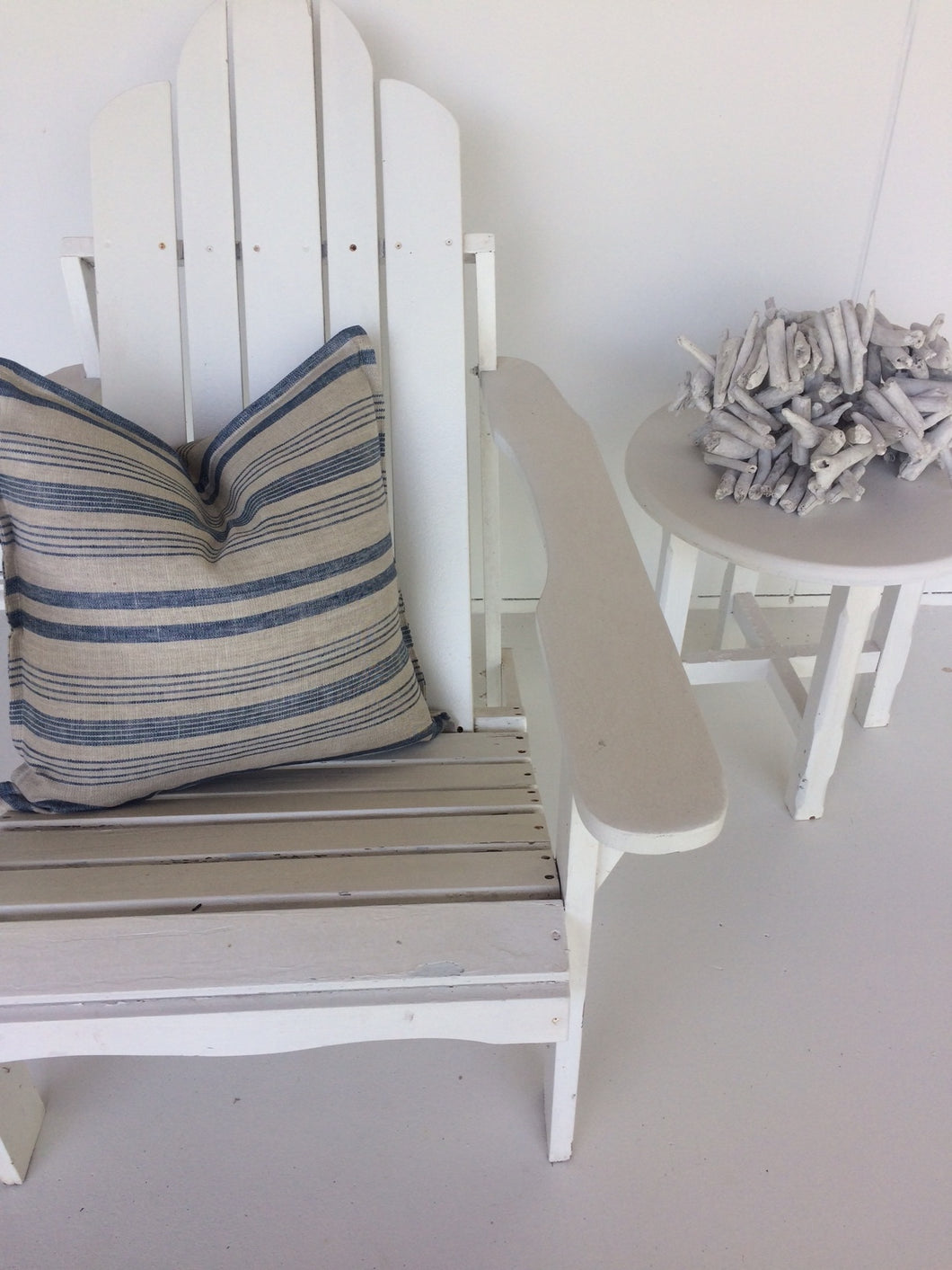 Coastal Linen Cushions Beige with Many Blue Stripes