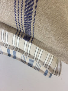 Coastal Linen Cushions - Beige with White Stripes