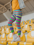 Zentangle Rainbow Zebra Stripes Leggings