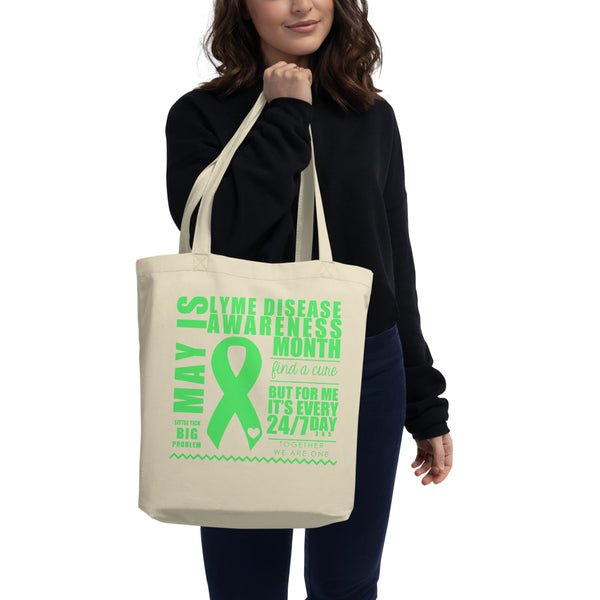 May Lyme Disease Awareness Month/WARRIOR Eco Tote Bag