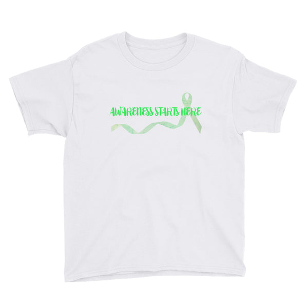 Awareness Starts Here/Green Youth Short Sleeve T-Shirt