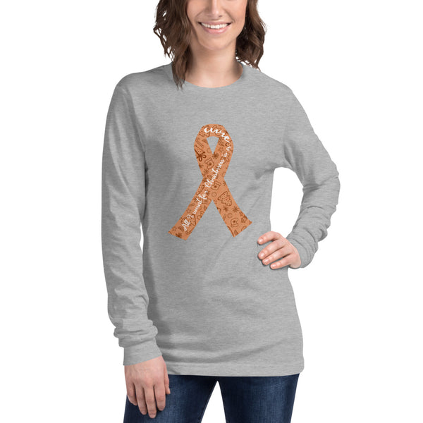 Christmas Cure Ribbon/Orange Unisex Long Sleeve Tee