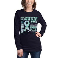 September Intracranial Hypertension Awareness Month/SUPPORTER Watercolor Print Unisex Long Sleeve Tee
