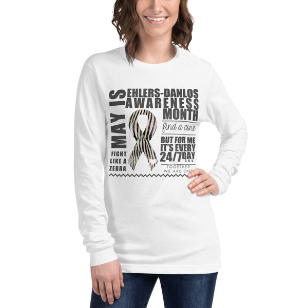May Ehlers Danlos Syndrome Awareness Month Watercolor Print Unisex Long Sleeve Tee