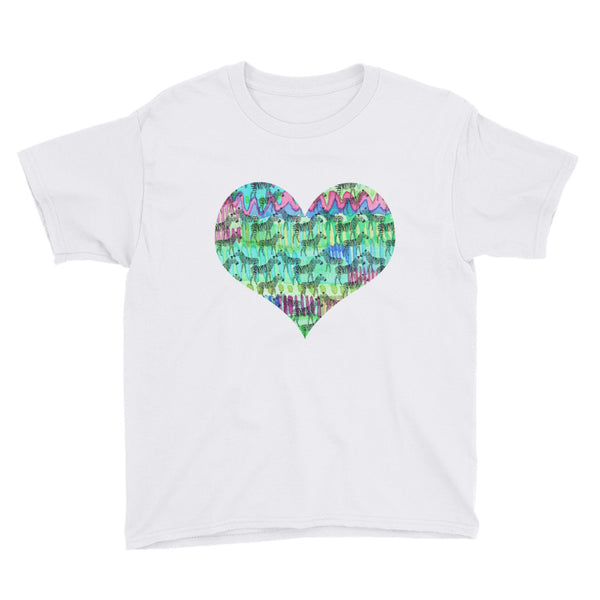 Painted Zebra Heart Youth Short Sleeve T-Shirt