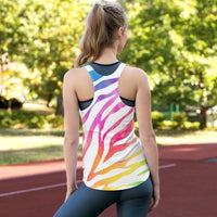 Think Zebras Hoofbeat Two Sided Women's Racerback Tank