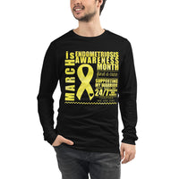 March Endometriosis Awareness Month/SUPPORTER Watercolor Print Unisex Long Sleeve Tee